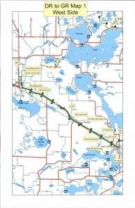 Map - Sled Dog Race - Deer River to Grand Rapids East
