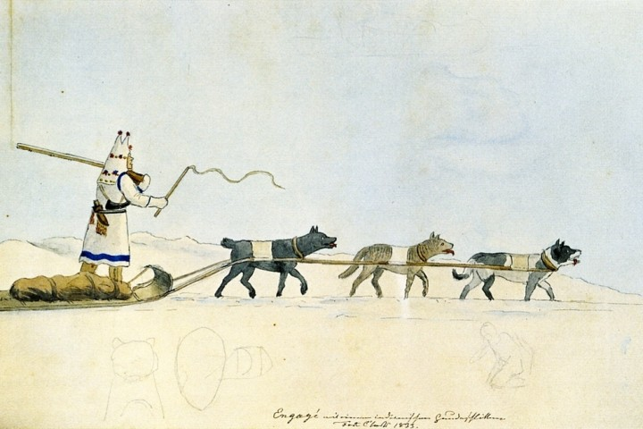 Indian dog sled near Fort Clark-Prince-Maximilian